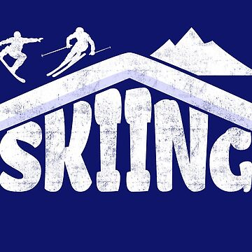 Skiing Skier Snowboarder Mountain Hut Typography by peter2art