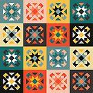 Colorful geometric squares tribal pattern by artonwear