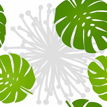 Rainforest Jungle Green Monstera leaves pattern by Glimmersmith
