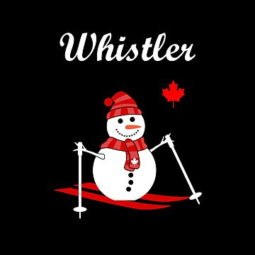 Whistler Canada Skiing Snowman and Red Maple Leaf Color by TinyStarCanada