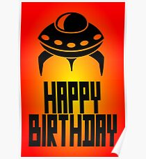 Space Invader Happy Birthday Greeting Card by Chillee Wilson Poster