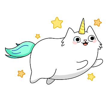 White Fat Flying Caticorn by StickersAndStuff