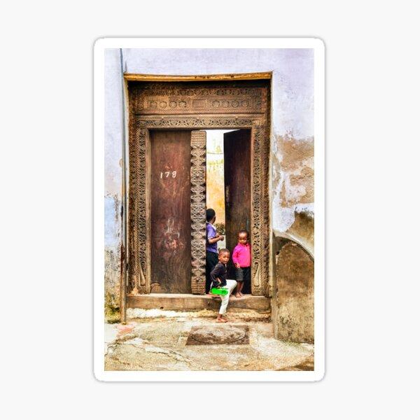 African Kids Playing in Stonetown Zanzibar 3609 Tanzania Sticker