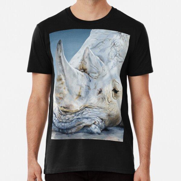 'Africa Dozing – White Rhino' square Premium T-Shirt