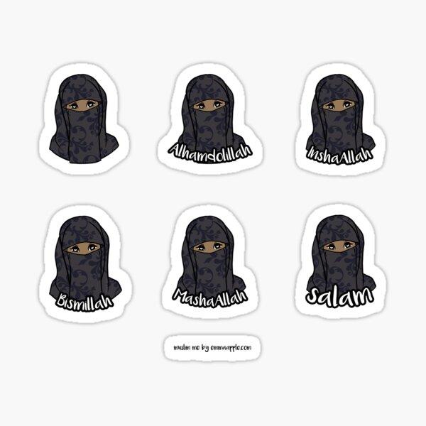 Original Muslim Me Black Hijabi Niqabi Cartoon Sticker