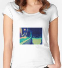 Urban Night Scene Women's Fitted Scoop T-Shirt