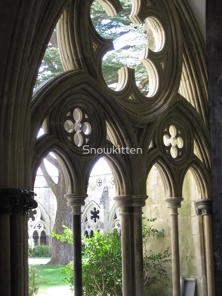 Arched windows onto garden by Snowkitten