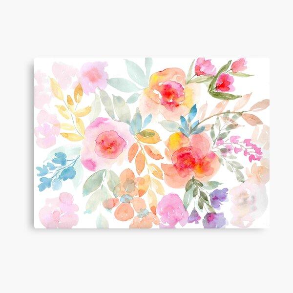 pastel watercolor flowers Canvas Print