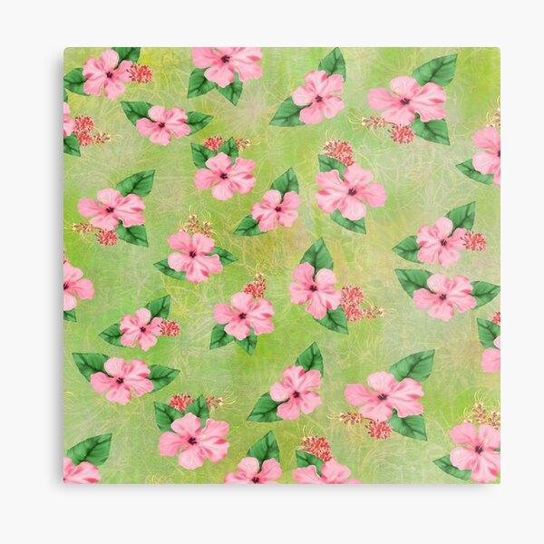 Hibiscus Print with Lime Green Batik Metal Print