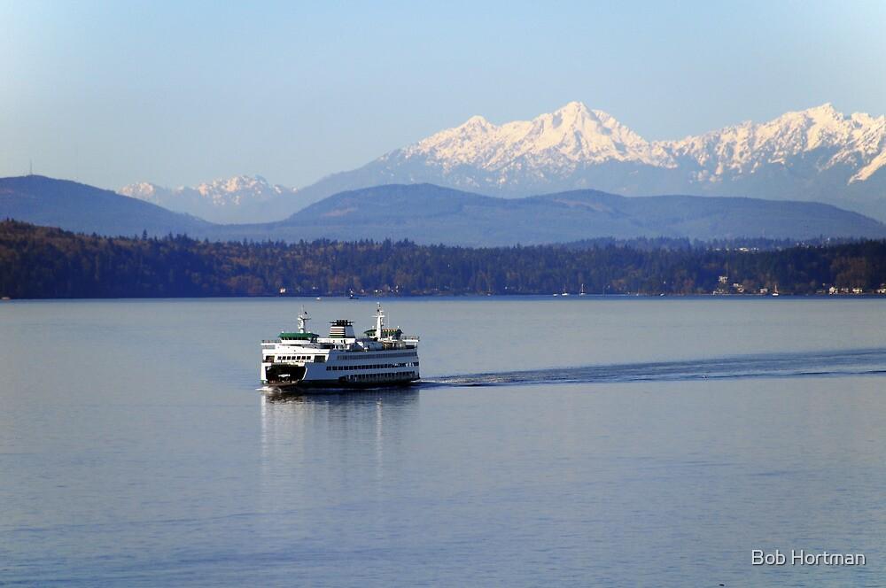 Seattle Ferry on Puget Sound by Bob Hortman