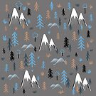 Hiking pattern trees and mountains - blue by Matt Corrigan