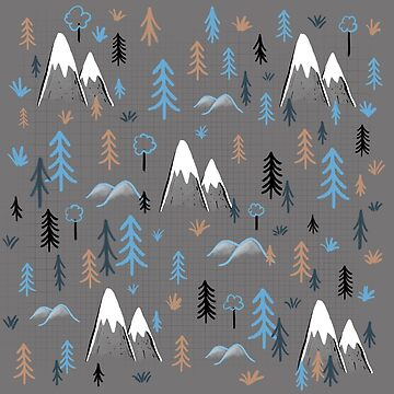 Hiking pattern trees and mountains - blue by Extreme-Fantasy