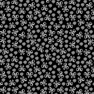 White on Black Bows and Flowers by TimorousEclectc