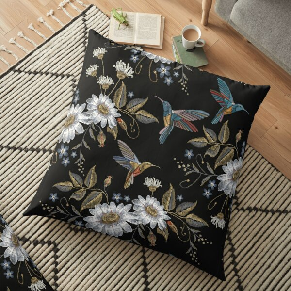 Humming bird and chamomile pattern Floor Pillow