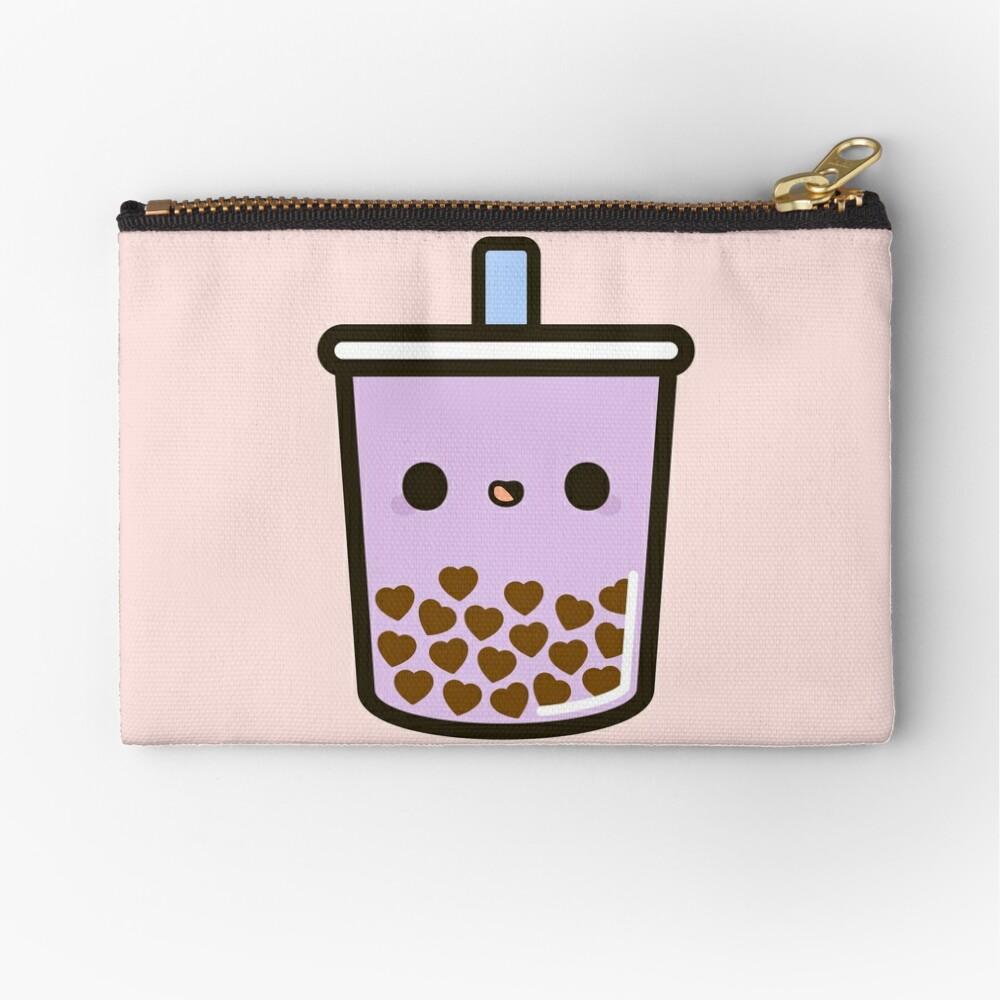 Cute Love Heart Bubble Tea Zipper Pouch