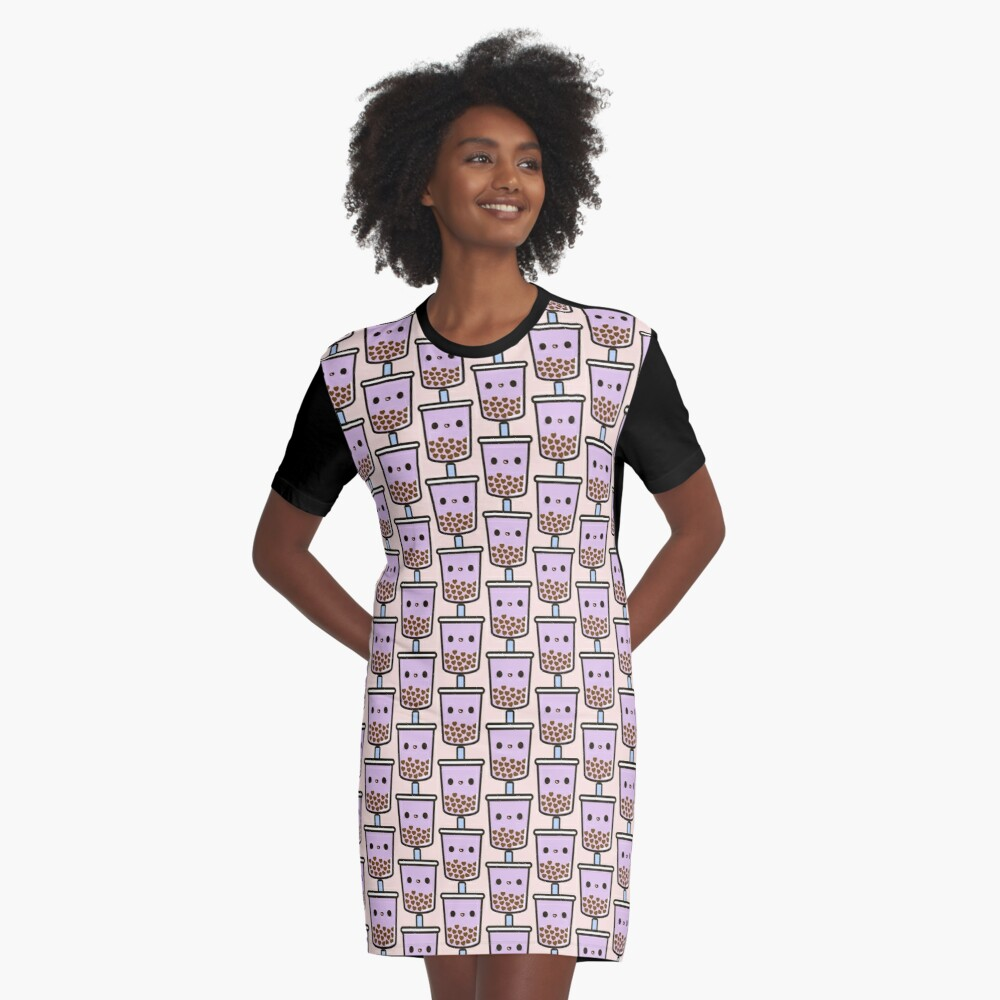 Cute Love Heart Bubble Tea Graphic T-Shirt Dress