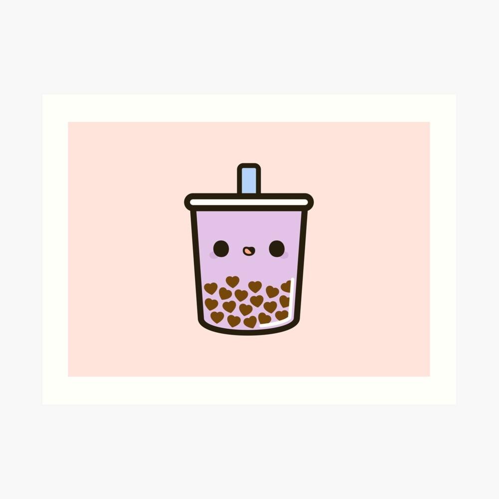 Cute Love Heart Bubble Tea Art Print