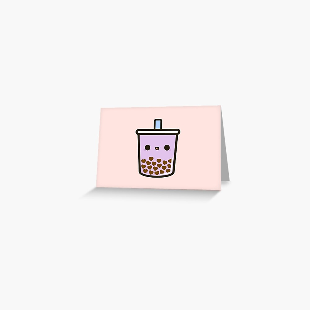 Cute Love Heart Bubble Tea Greeting Card