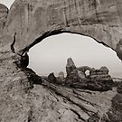 Arches North Window and Turret Arch - Moab Utah Sepia by Gregory Ballos