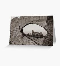 Arches North Window and Turret Arch - Moab Utah Sepia Greeting Card