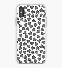 Striped Heart Doodle Pattern iPhone Case
