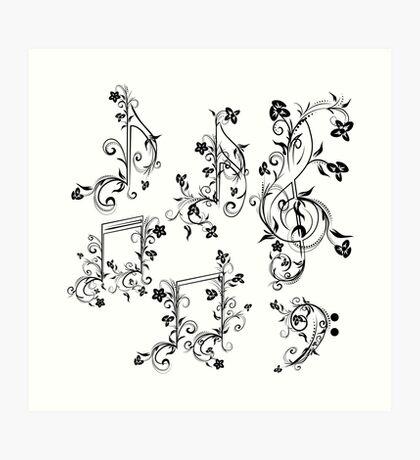 Blumenmusiknoten Kunstdruck