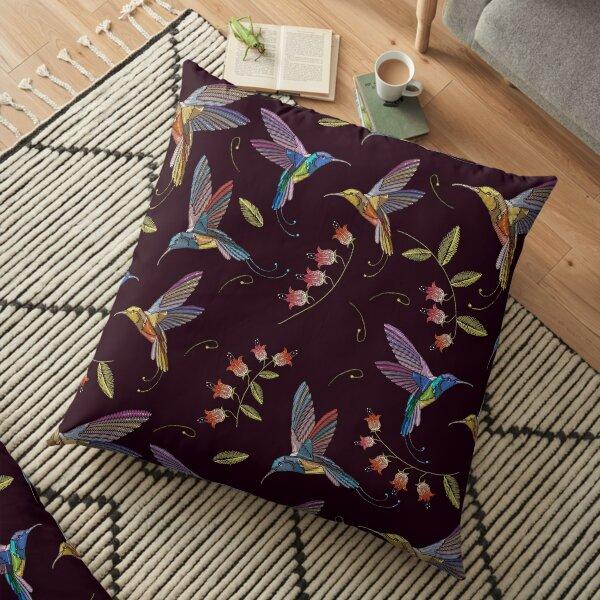 Humming bird and summer flowers Floor Pillow