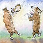 Mr Tambourine Dog, Corgi Dog Musician by SusanAlisonArt