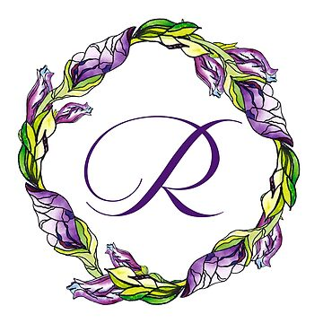 iris floral Letter R - uppercase Alphabet, Monogram, Initial  by ArtOlB