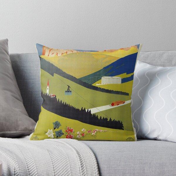 Vintage Alto Adige South Tirol Italian travel ad Throw Pillow