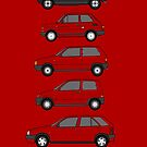 'Fiats Little Boxes' Classic Car Collection Artwork by RJWautographics