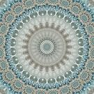 Dreamy Grey, Blue and Ivory Mandala by Kelly Dietrich