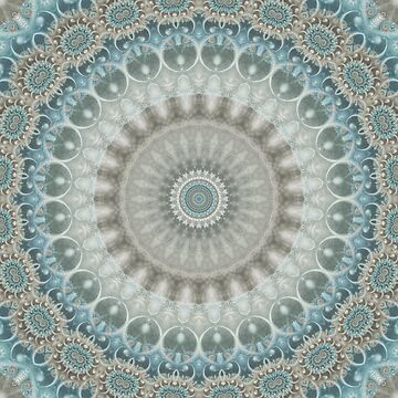 Dreamy Grey, Blue and Ivory Mandala by kellydietrich