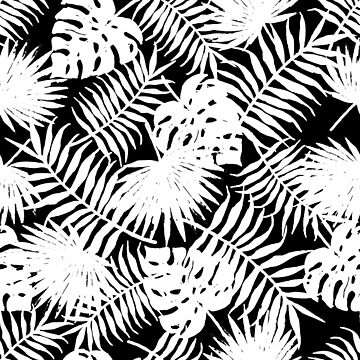 White Tropical Leaves on Black by Modernicity