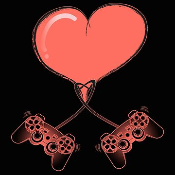 Video Gamer Heart Controller Gift - I Love Video Game Valentine's Day T-Shirt for Multiplayer Players by MrTStyle