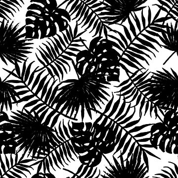 Tropical Leaves Pattern Black on White by Modernicity