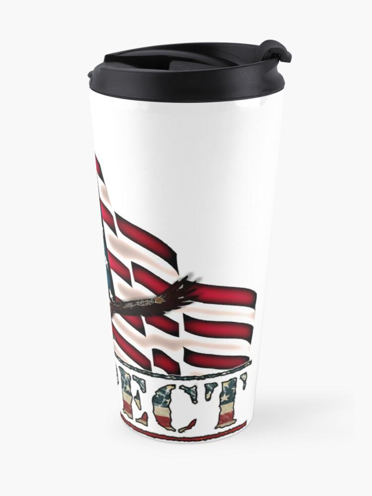 Alternate view of Patriotic Respect w/Eagle & USA Flag Travel Mug