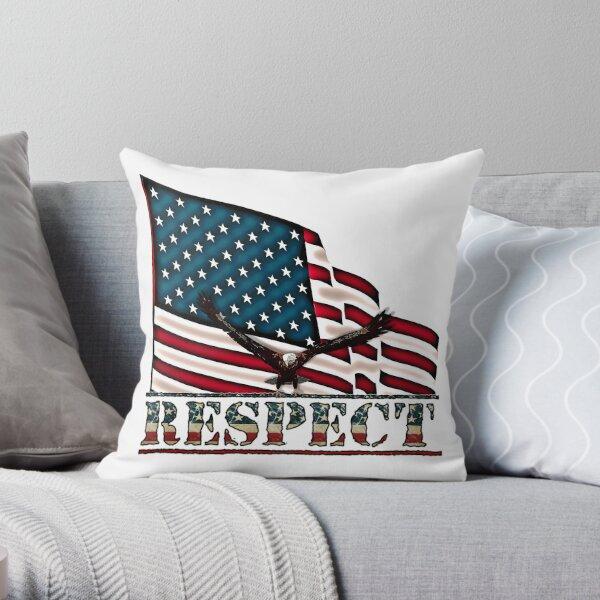 Patriotic Respect w/Eagle & USA Flag Throw Pillow