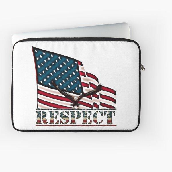 Patriotic Respect w/Eagle & USA Flag Laptop Sleeve