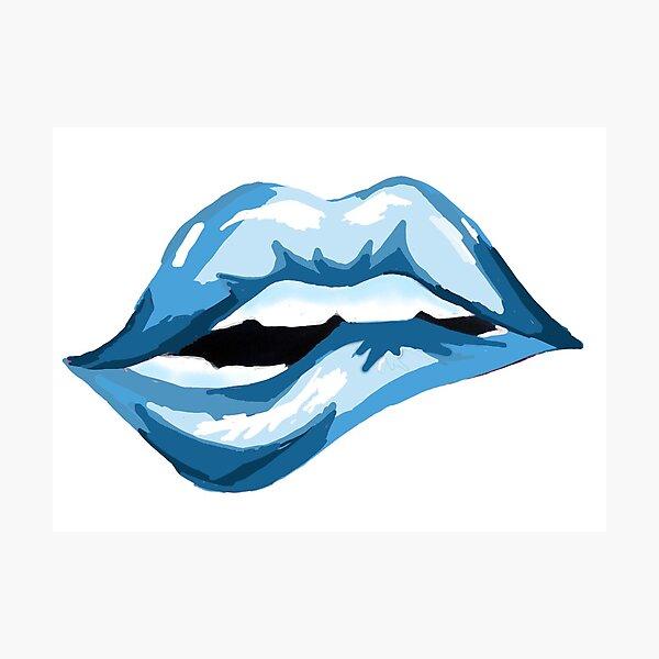 Berry Blue Lip Photographic Print