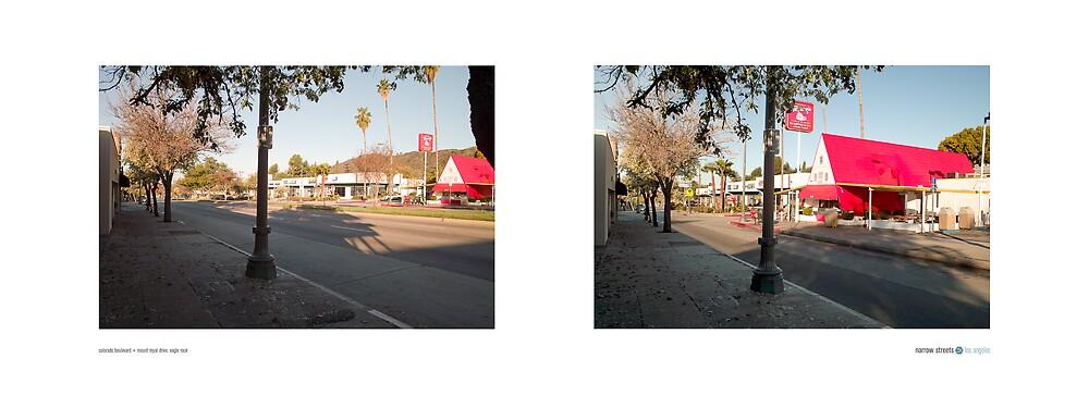 Colorado Boulevard + Mount Royal Drive, Eagle Rock, Los Angeles, California, USA...narrowed. by David Yoon