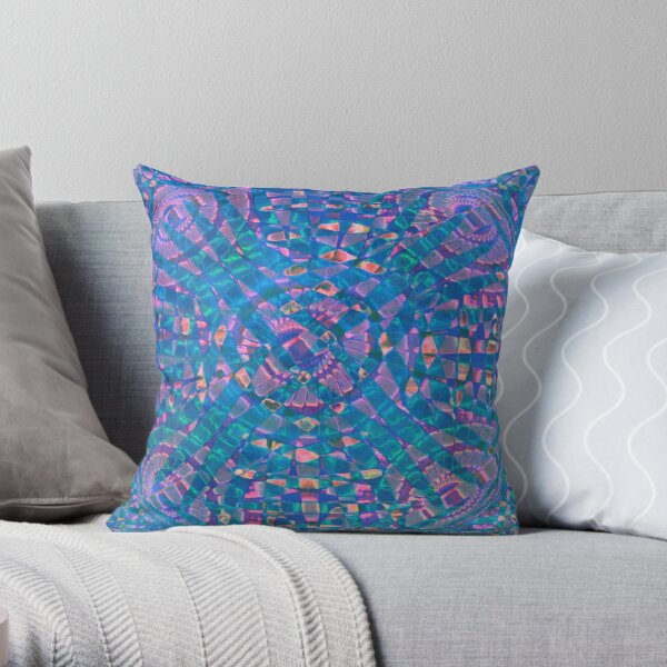 Mandala Aqua Throw Pillow