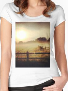 Autumn misty morning Women's Fitted Scoop T-Shirt
