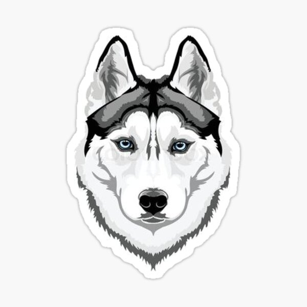 NEW SIBERIAN HUSKY SILHOUETTE STICKER DECAL SLED DOG DOGS HUSKIES WHITE LARGE