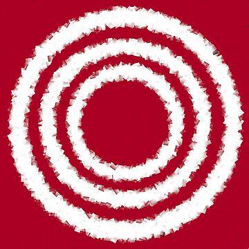 Three white rings on red by TiiaVissak
