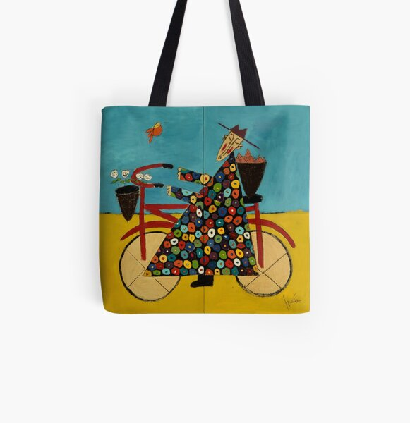Boardwalk Bicycle Monk All Over Print Tote Bag