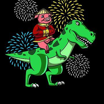 Chinese New Year 2019 Pig Riding T Rex Dinosaur Gift by nikolayjs