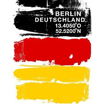 Germany Berlin Deutschland German Coordinates Art by IronEcho