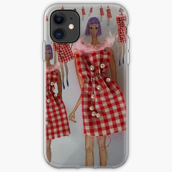 Fashion Illustration Tartan Dress iPhone Soft Case