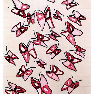 Pink Butterflies by AlyinWonderland